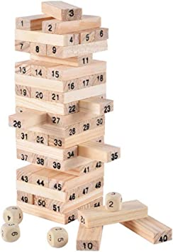 Okayji Wooden Tower Building Blocks Toy 54 + 4pcs Stacker Educational Extract Kids Game, 1-Set