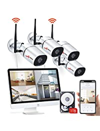 All in one with 15.6 inches Monitor Wireless Security Camera System, ANRAN Home Business CCTV Surveillance Camera 1080P NVR System, 4pcs 2MP 1080P Indoor Outdoor IP Camera,1TB HDD,Easy Remote View Kit