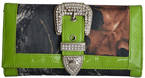Camouflage Camo Green Rhinestone belt Buckle Trifold Checkbook Wallet (Lime Green Camo Purse)