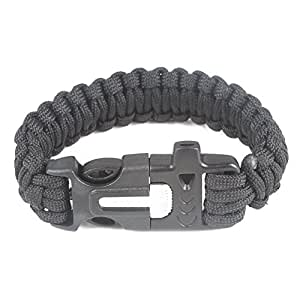 Baigeda Outdoor Emergency Survival Whistle Kit Nylon Paracord Buckle with Flint Fire Starter Striker Tactical Equipment Multifunctional Lifesaving Bracelet Gear (Black)