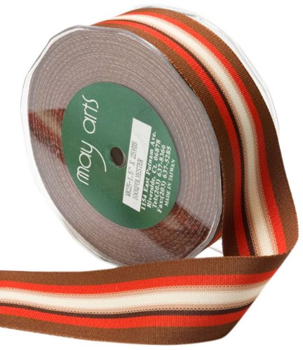 May Arts 5/8-Inch Wide Ribbon, Red and Brown Grosgrain Stripes ()