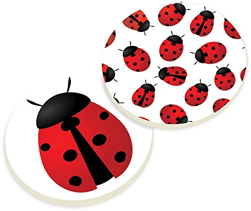 Ladybugs 2 Piece Ceramic Car Coaster Set