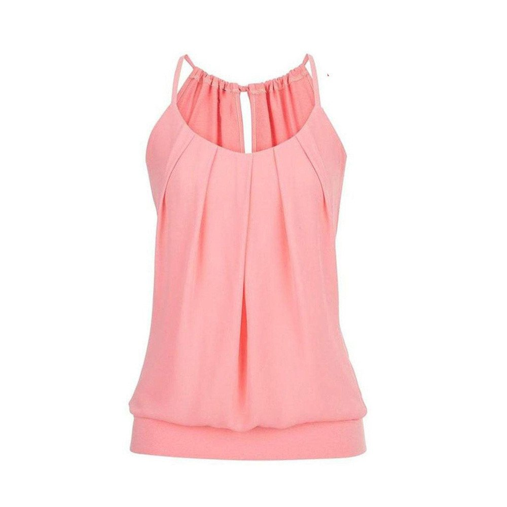 Camisoles of Womens Loose Sleeveless Tank Tops O Neck Solid Vest Bustier Fashion Crop Tops Sport Camis Blouse Plus Size S~5XL Pink