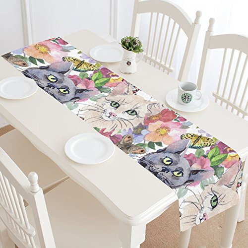 Watercolor Wild Cat Cotton Linen Cloth Long Table Runner for Office Kitchen Dining Wedding Party Home Decor 16 X 72 Inches ()