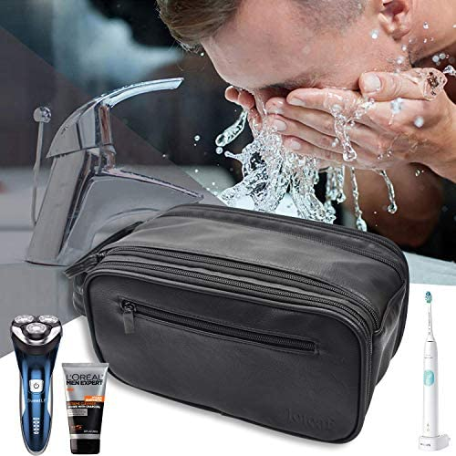 Loteaf Toiletry Bag for Men PU Leather Water-Resistant Travel Toiletry Bag Organizer Dopp Kit for Toiletries Accessories (Black)