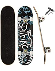 QLGM Skateboard 31 Inch Complete Standard Skateboard 7 Layer Maple Skateboard Deck with Sports Outdoors Durable Skate Board for Beginners Double Kick Skateboards for Adults