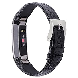 For Fitbit Alta Bands/Fitbit Alta HR Bands, Genuine Leather Replacement Bands for Fitbit Alta/Fitbit Alta HR Black Stone