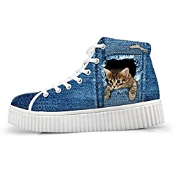 Coloranimal Trendy Women High Top Platform Shoes Cute 3D Cat Denim Lace-up Wedge Sneakers for Girls US5