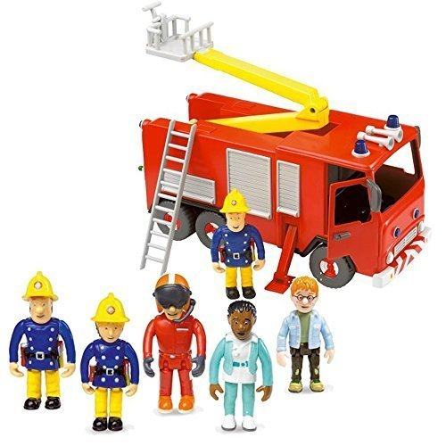 - HIT Fireman Sam Friction Fire Engine Jupiter & 5 Figure Articulated Set