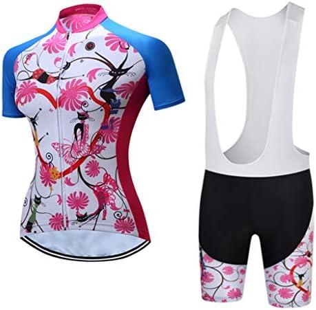 女性のマウンテンウェア自転車に乗る半袖サイクリングクイックドライ通気性ジャージと3Dパッド入りショートセット