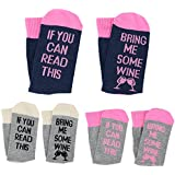 [UPGRADED] 3 Pairs Wine Glass Funny Socks IF YOU CAN READ THIS BRING ME SOME WINE Socks Gifts For Women