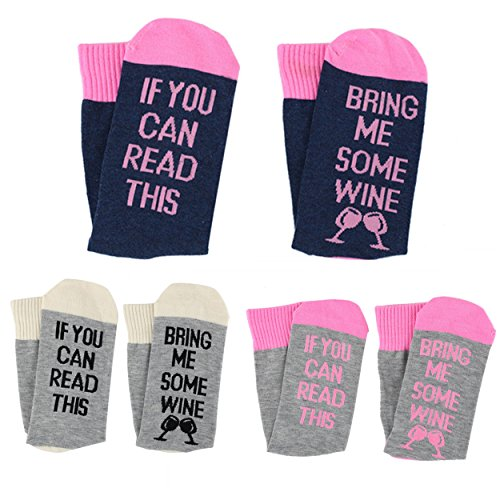 Moyel Women If You Can Read This Wine Food Funny Party Crew Socks For Wine Lover (3 Pairs Wine)