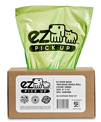 1000 Pet Waste Disposal Dog Poop Bags, EZ Pickup Bags Green (single roll, not on small rolls) (Pet Pickup)