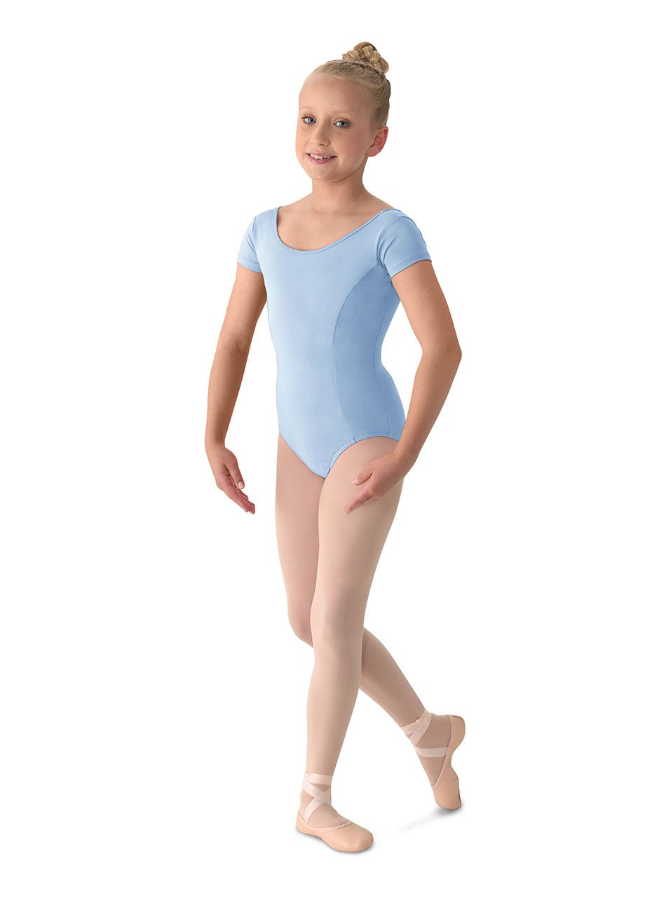 Mirella Girl's Princess Seam Cap Sleeve Dance Leotard Light Blue 8-10 by Mirella