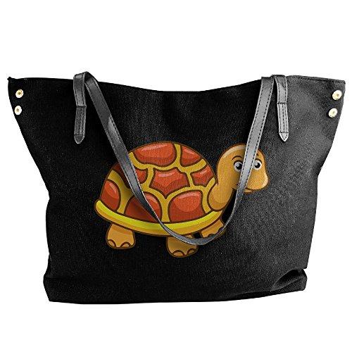 Large Women's Shoulder Tote Bags Large Turtle Capacity Black Canvas Handbag Cartoon Cw5w17xq