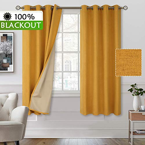 BGment 100% Blackout Curtains with Liner for Bedroom, Grommets Thermal Insulated Textured Linen Lined Curtains for Living Room (52 x 63 Inches, 2 Panels, Golden Yellow) (Golden Curtains Yellow)