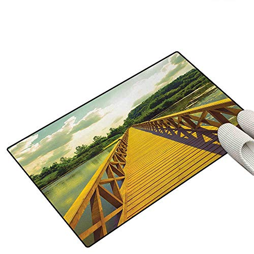Landscape Door Mats for Home Summer Landscape with Timber Bridge Over Lake Green Forest Escape to Nature Theme Door Mat Indoors Bathroom Mats Non Slip 16
