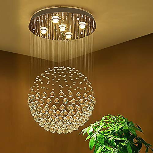 SEFINN FOUR Ball Shape K9 Raindrop Ceiling Light Modern Crystal Chandelier, H32 X D18, Single