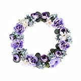 FAVOWREATH 2018 Romance Series FAVO-W03 Handmade 14 inch Mini Tea Rose Bud Wild Flowers Grapevine Wreath For Summer/Fall Festival Front Door/Wall/Home/Fireplace/Farmhouse Nearly Natural Hanger Decor