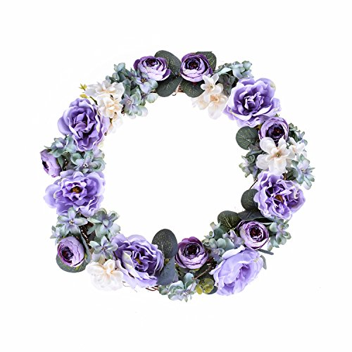 FAVOWREATH 2018 Romance Series FAVO-W03 Handmade 14 inch Mini Tea Rose Bud Wild Flowers Grapevine Wreath For Summer/Fall Festival Front Door/Wall/Home/Fireplace/Farmhouse Nearly Natural Hanger Decor by FAVOWREATH