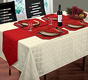 """WOVEN JACQUARD CHECK CREAM TABLE CLOTH 52"""" X 70"""" 8 RED NAPKINS & 8 RED PLACEMATS"""