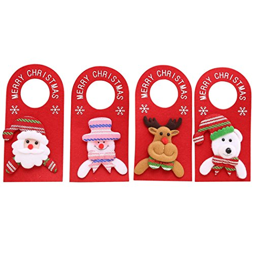 Funpa Christmas Door Knob Hangers, 4 Pack Santa Claus Snowman Reindeer White Bear Holiday Doorknob Hanger Set for Xmas Home Door Party Decorations