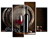 SmartWallArt Wine Paintings Wall Art Oak Barrels and Wine on Wooden Table 4 Panel Picture Print on Canvas for Modern Home Decoration