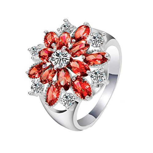 Womens Girls Pretty Faux Crystal Rings Set AfterSo Fashion Exquisite Red Flowers Sliver Round Zircon Ring Wedding Engagement Anniversary Cocktail Jewelry Romance Gift for Her / Girlfriend (6, Red - 1) (Pocket Crystal Swarovski)