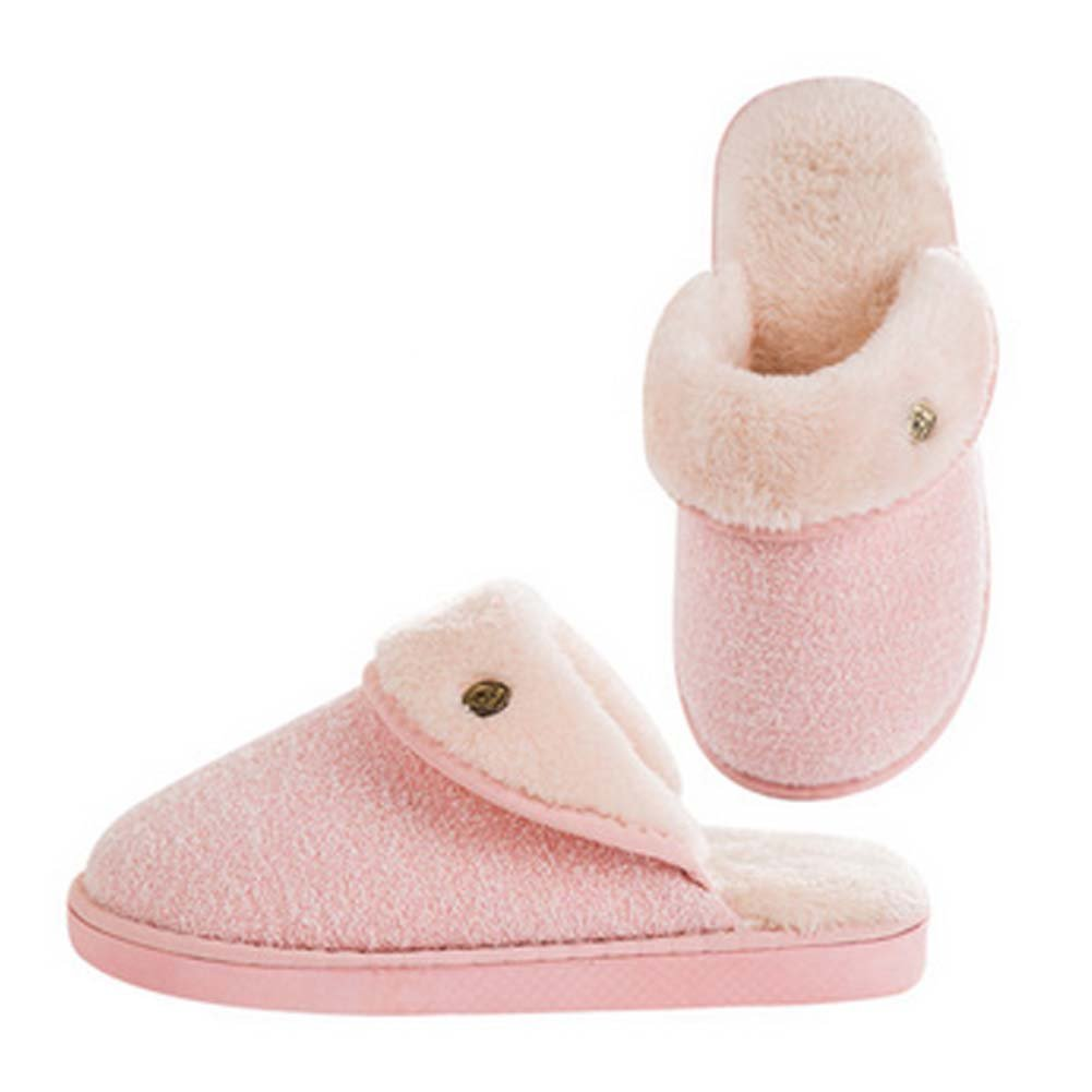 Fashion Cotton Slippers Winter Warm Indoor Slippers Couple Slippers, Women, PINK Blancho Bedding