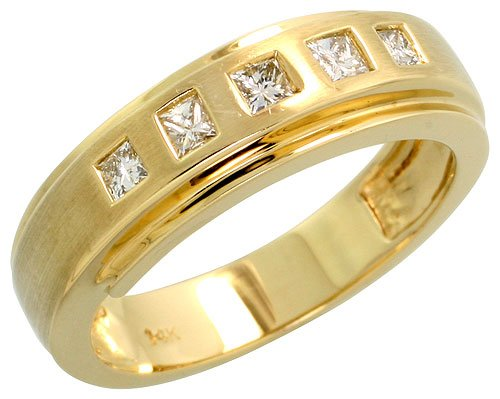 14k Gold Matte Center Ladies' Diamond Band, w/ 0.27 Carat Invisible Set Diamonds, 1/4