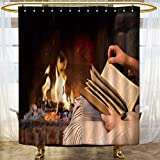 AmaPark Contemporary Shower Curtains for Bathroom hand woman read book by fireplace Non Toxic Eco-Friendly No Chemical Odor