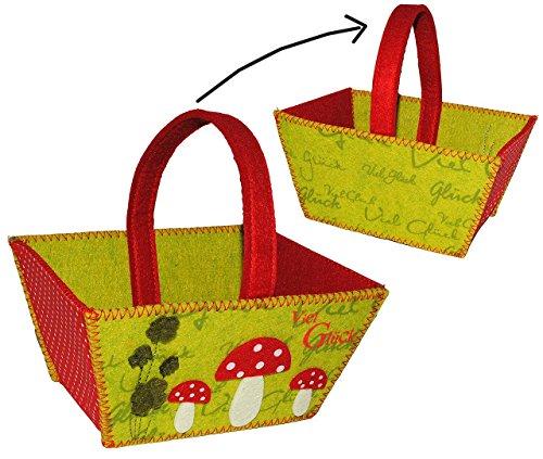 """Filztasche / Geschenktasche / Aufbewahrungsbox - """" Viel Glück """" Glückspilz & Pilz mit Kleeblatt - Filz auch als Filztopf Topf - Taschen Filztaschen für Kinder & Erwachsene - Dekotasche / Streukörbchen"""