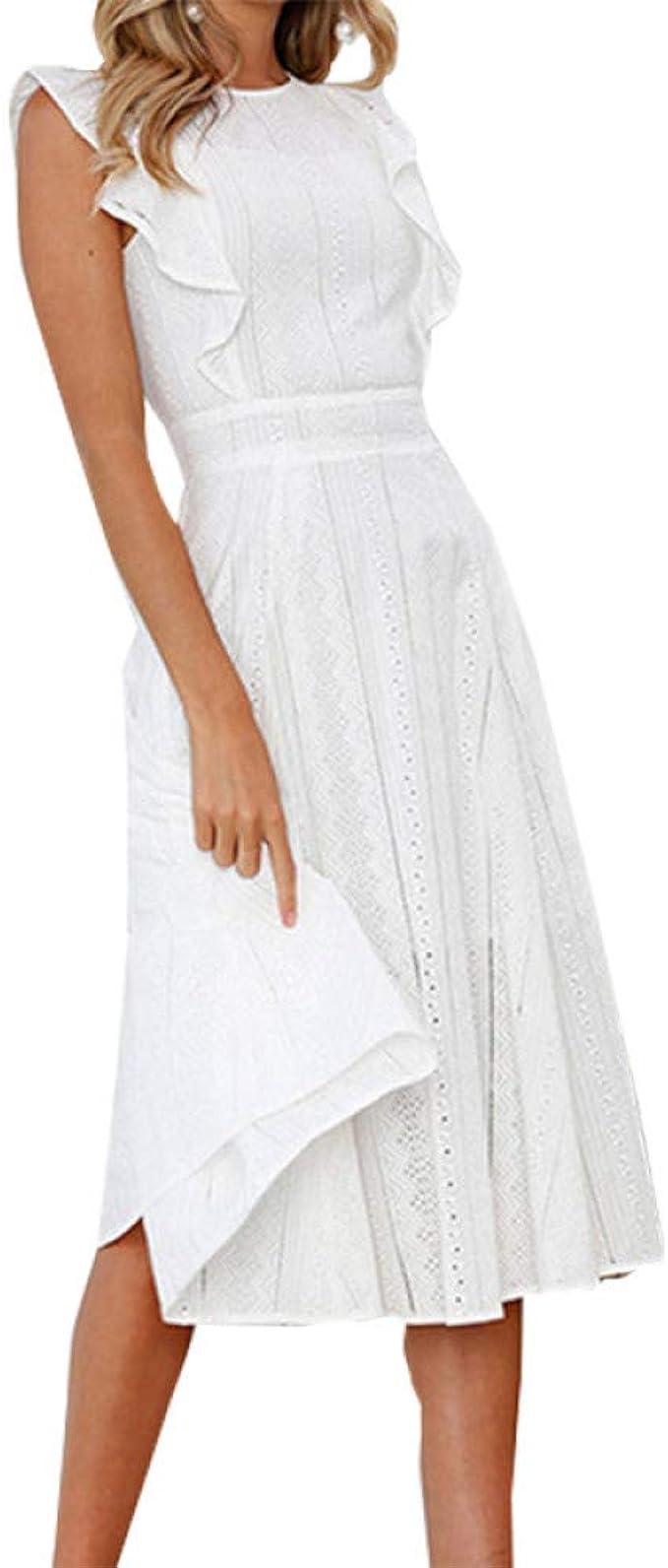 SKBOOS Mode Sommer A-line Spitze Weißes Kleid Boho Beach Solide