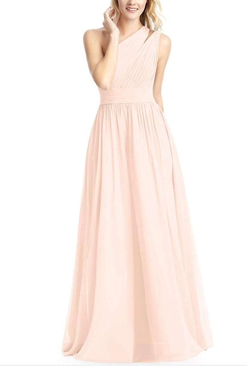 Pearl Pink RTTUTED Women's FullLength One Shoulder Bridesmaid Dress Evening Prom Gowns Skirt