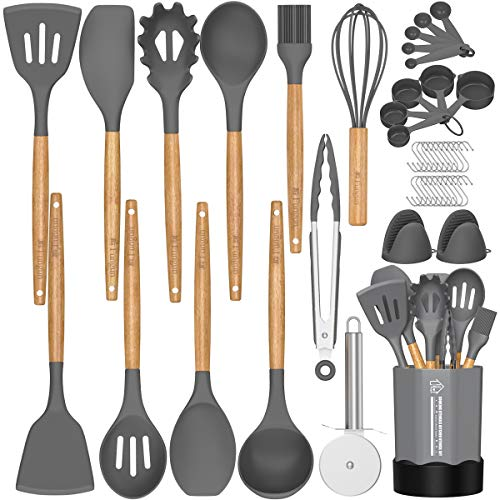 Silicone Cooking Utensil Set, 26 Pcs Kitchen Utensils Cooking Utensils Set by Fungun, Non-stick Heat Resistant Kitchen…