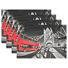 "WOZO London Famous Tower Bridge Placemat Table Mat, England Stylish Red Bus 12"" x 18"" Polyester Table Place Mat for Kitchen Dining Room Set of 6"