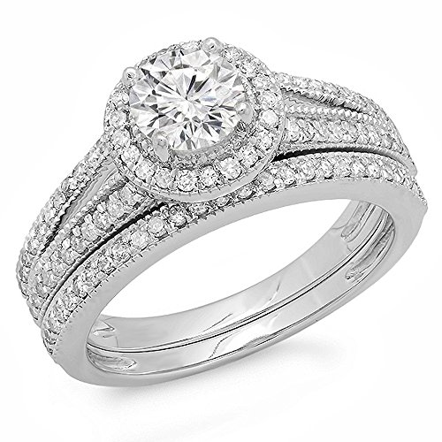 (Dazzlingrock Collection 1.25 Carat (ctw) 14k Round Diamond Ladies Split Shank Halo Style Bridal Engagement Ring Set With Matching Band 1 1/4 CT, White Gold, Size 9)