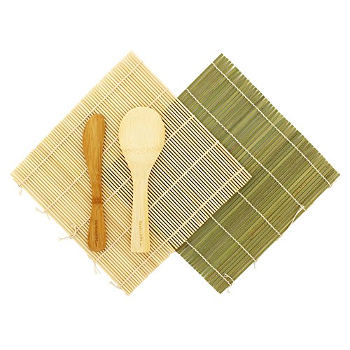 BambooMN Sushi Maker Kit 1x Green 1x Natural Bamboo Rolling Mats, 1x Rice Paddle, 1x Spreader | 100% Bamboo Mats and Utensils