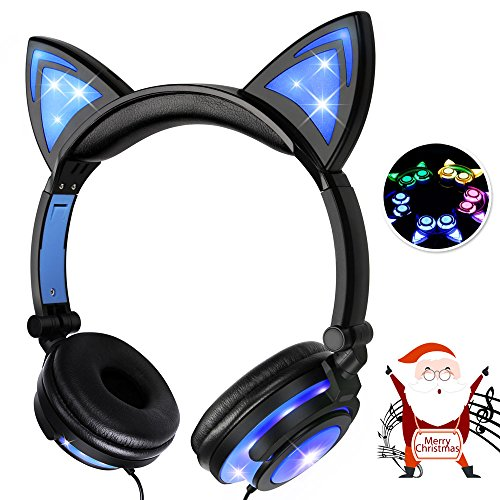 Baztoy Kids Headphones with Cat Ear Adjustable LED Lights Wired On-ear Rechargeable Headsets 85dB Volume Limited 3.5 mm Jack for Children Halloween and Christamas Gift (Blue)