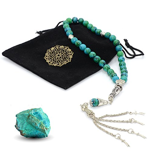 - New Chrysocolla Stone Prayer Beads, Worry Beads (8 mm, 33 Beads) Sibha - Tesbih - Tasbih - Misbaha - Dhikr Beads - Rosary
