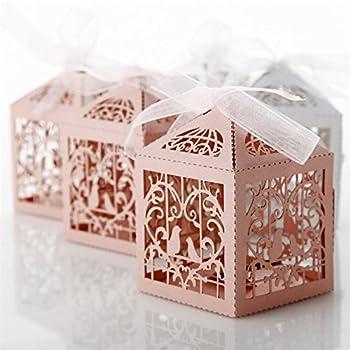 Amazoncom 100 Bride Groom Wedding Favor Boxes Kitchen Dining