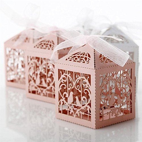 Derker 50 Pcs Romantic Hollow Out Love Birds Laser Cut Square Wedding Favor Candy Boxes Bridal Shower Party Favor Gift Boxes - Ribbon Included (Pink)