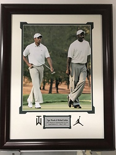 Framed Michael Jordan & Tiger Woods 11x14 Golf Basketball Photo Professionally Matted 19x23 Total (Tiger Woods Memorabilia)