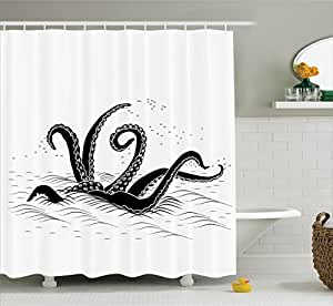 Ambesonne Octopus Decor Collection, Mythological Kraken Octopus Tentacles Monster in the Sea Illustration Nautical Decor , Polyester Fabric Bathroom Shower Curtain, 84 Inches Extra Long, Black White