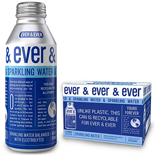 Sparkling Water by [ Ever and Ever ] Aluminum Bottled | Reverse Osmosis Sparkling Water | Bubbly & Balanced with Electrolytes | RECYCLABLE FOR ALL ETERNITY | 16 oz Bottle-Cans (Pack of 12) (Best Sparkling Water In The World)