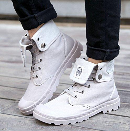 Minetom Moda Zapatos Botas Invierno Invierno Boots Gris Martin de Botas Retro deslizante Otoño Hombre Nieve Lazada Botines Anti HIAqwrUH