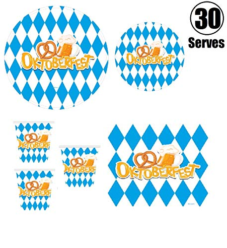 Oktoberfest Decorations Cheap (Serves 30 | Complete Party Pack | Oktoberfest | 9
