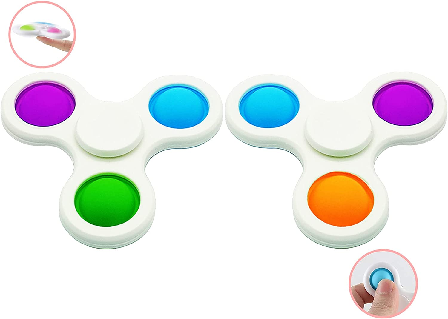 Depointer Fidget Spinner Push pop Bubble Sensory Fidget Toy, Fidget Dimple Spinner Stress Relief Finger Toy ,Hand Spinner Toys Simple Office and Desk Toys for Kids Adults