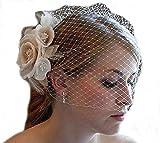 SIQINZHENG Women's Hand Made Flower Short Blusher Bridal Hat Birdcage Wedding Veil (Ivory)