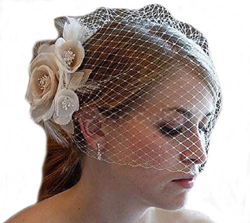 SIQINZHENG Women's Hand Made Flower Short Blusher Bridal Hat Birdcage Wedding Veil (Ivory)